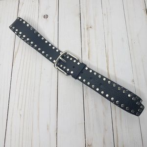 Guess Black Leather Studded Belt